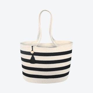 Shopper Bag with Tassel - Ivory / Black - Stripes