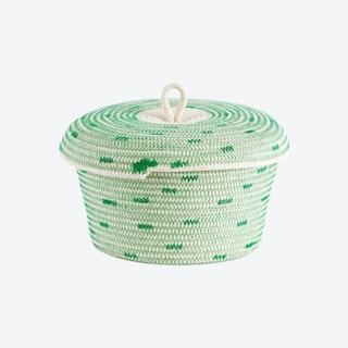 Lidded Stitched Bowl Basket - Green - Polka Dot
