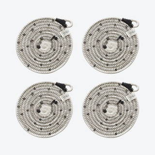 Stitched Coasters - Black - Polka Dot - Set of 4