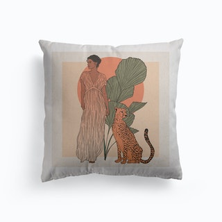 Woman And Leopard Canvas Cushion