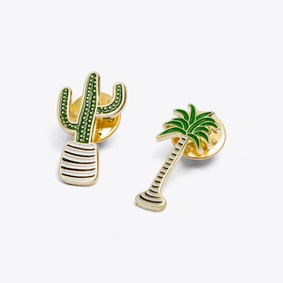 Cactus and Palm Tree Pin Set
