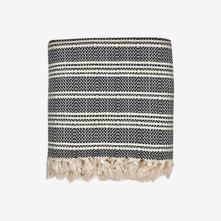 Woven Stripe Turkish Throw - Black