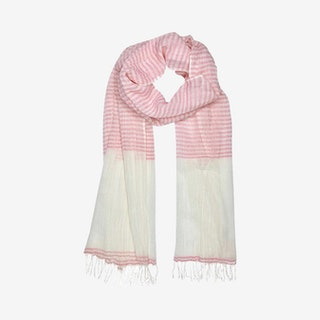 Airy Cotton Stripe Scarf - Blush