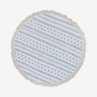 Stripe Block Print Beach Blanket - Ivory / Blue