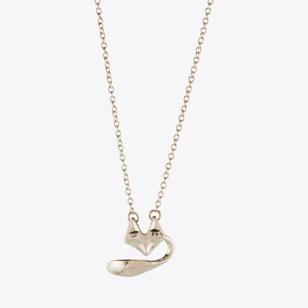 Fox Head & Tail Necklace in Rose Gold