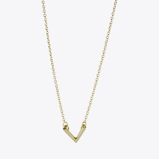 Chevron V Necklace in Gold