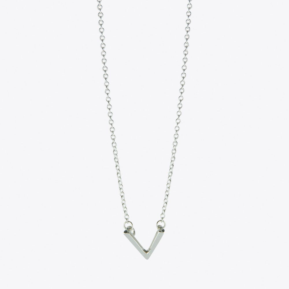 Chevron V Necklace in Silver