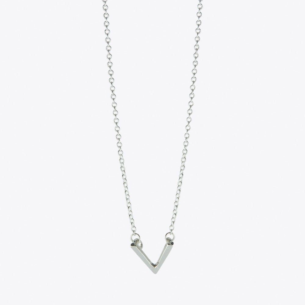 Chevron V Necklace in Silver