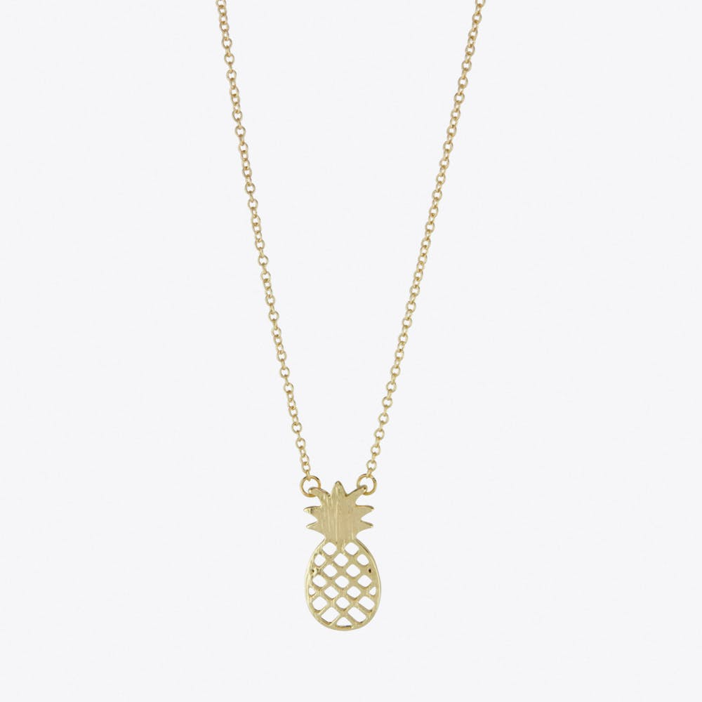 Pineapple Charm Necklace in Gold