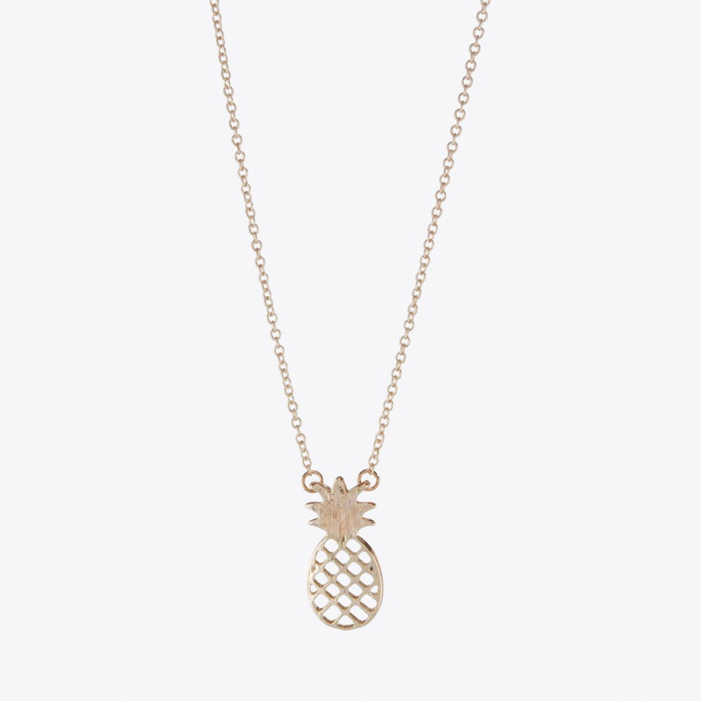 Pineapple Charm Necklace in Rose Gold