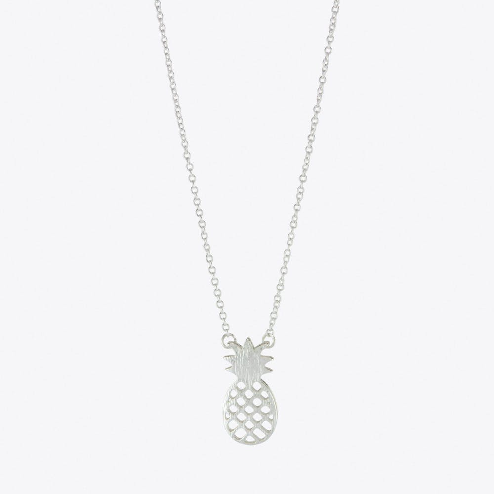 Pineapple Charm Necklace in Silver