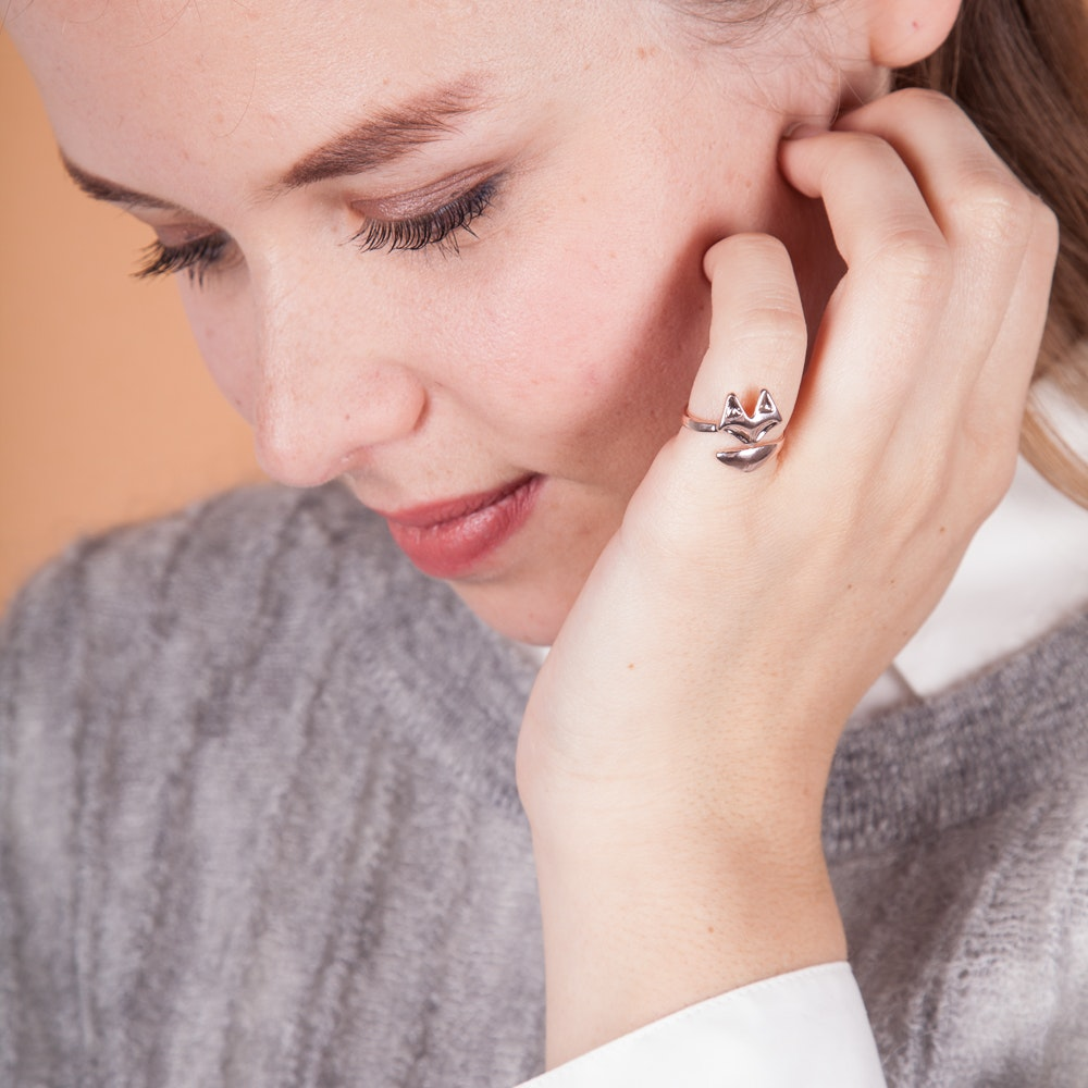 Geometric Fox Ring in Rose Gold By Anoa - Fy