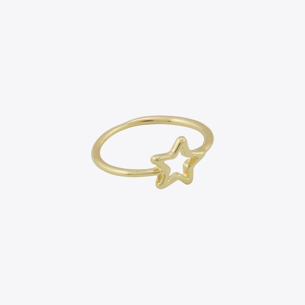 Geometric Star Ring in Gold