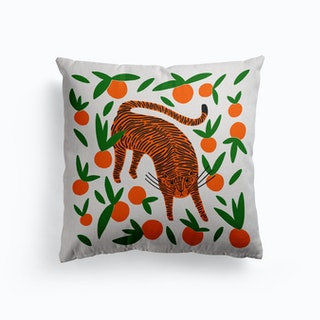 Tangerine Tiger Canvas Cushion