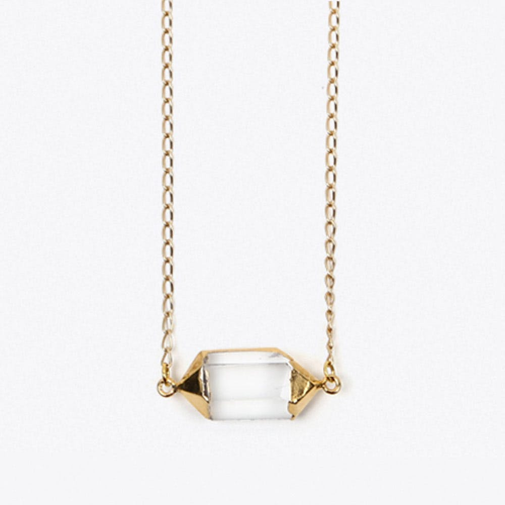 Clear Crystal Cylinder in Gold