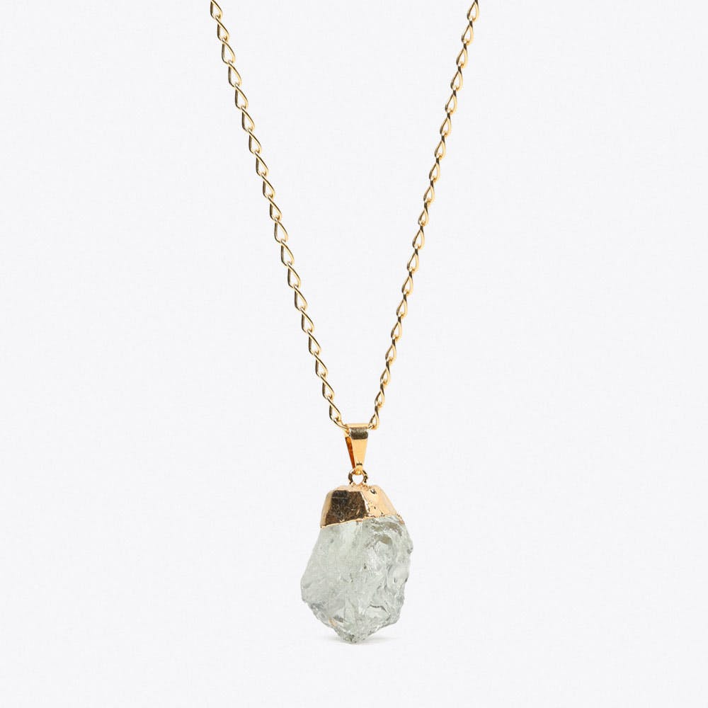 Green Amethyst Necklace in Gold