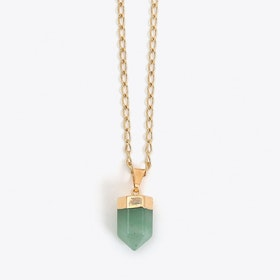 Aventurine Quartz Necklace in Gold