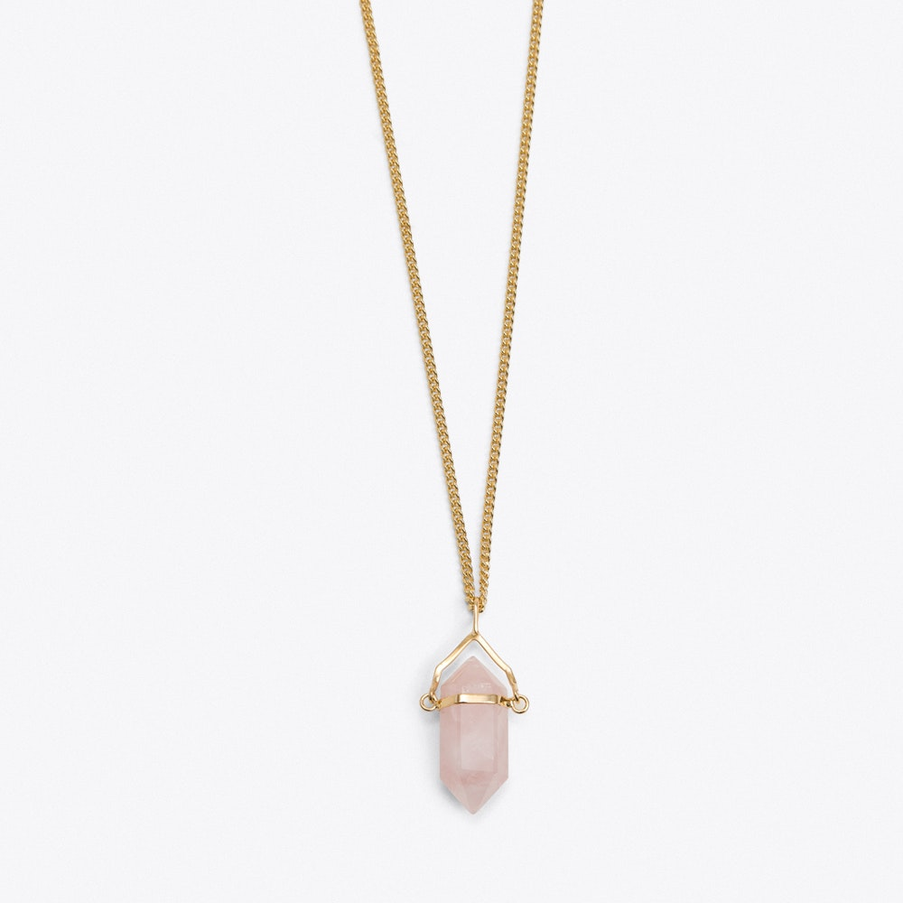 Rose Quartz Pendulum Necklace By Crystal And Sage Fy