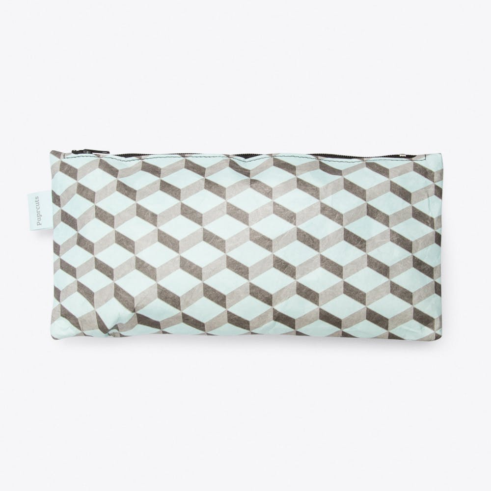 3D Cube Pencil Case in Light Blue