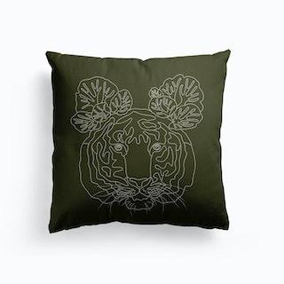 Tiger And Saxifraga On Olive Green Canvas Cushion