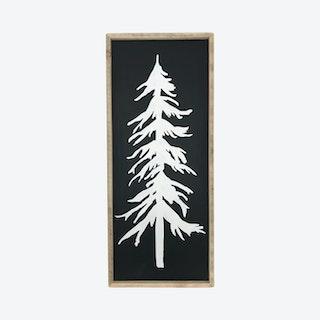 Pine Tree Decor Framed Wall Sign