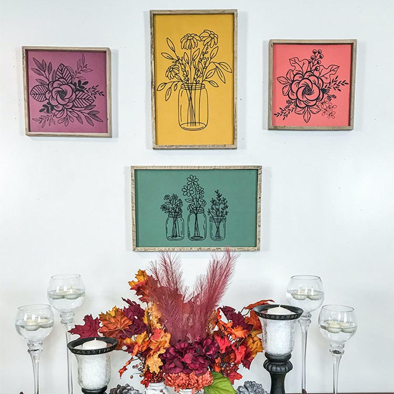 Floral Mason Jar Framed Wall Decor Green By Wawl Decor Fy