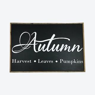 Autumn - Harvest - Leaves - Pumpkins Framed Wall Sign