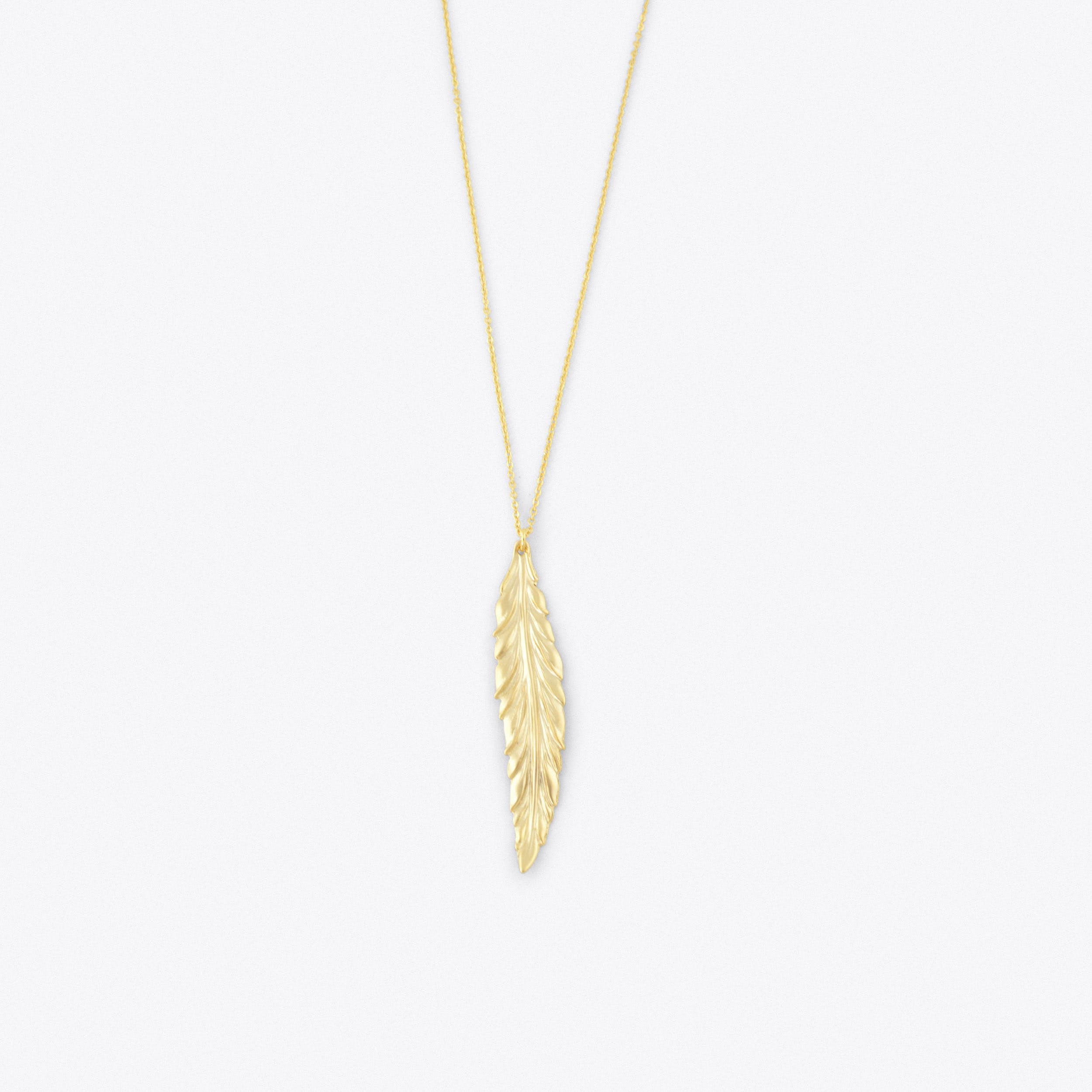 Long Feather Necklace Gold