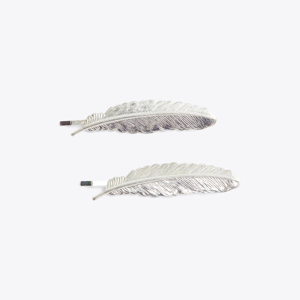 Silver feather Hair Grips