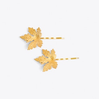 Gold Maple Leaf Hair Grips