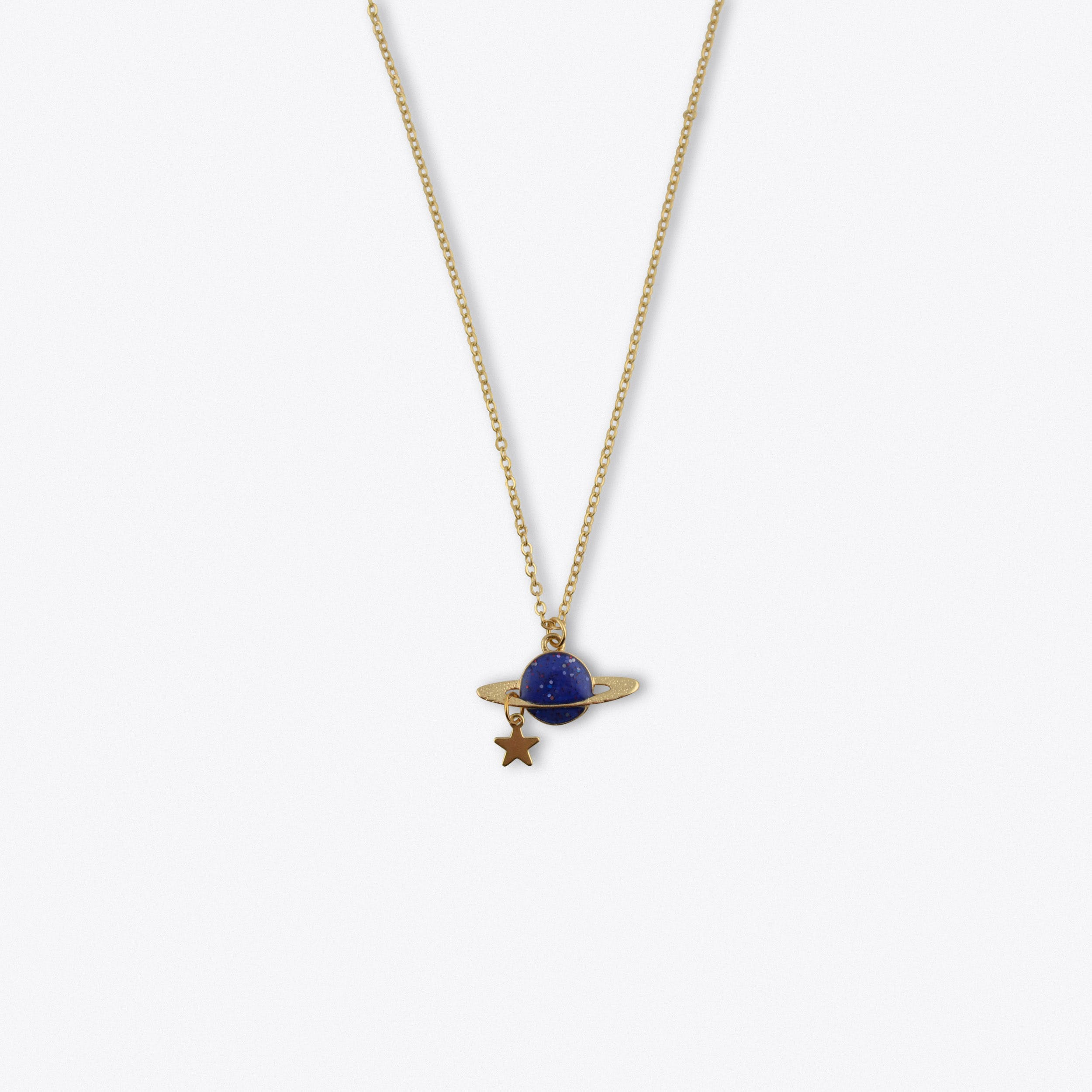 Blue Saturn Long Necklace