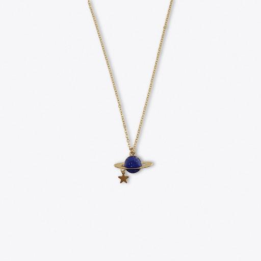 Blue Saturn Long Necklace