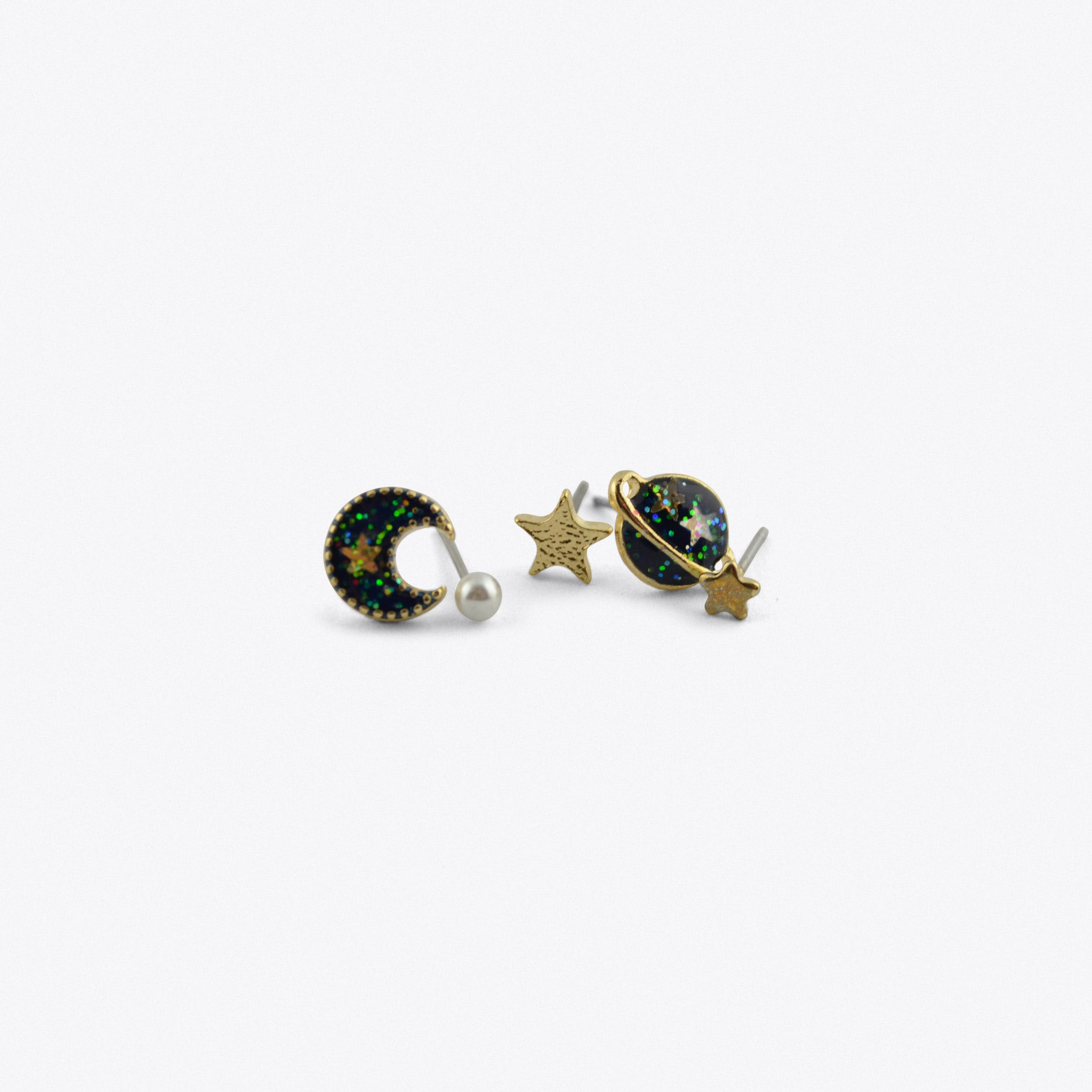 Blue Star And Planet Studded Earrings