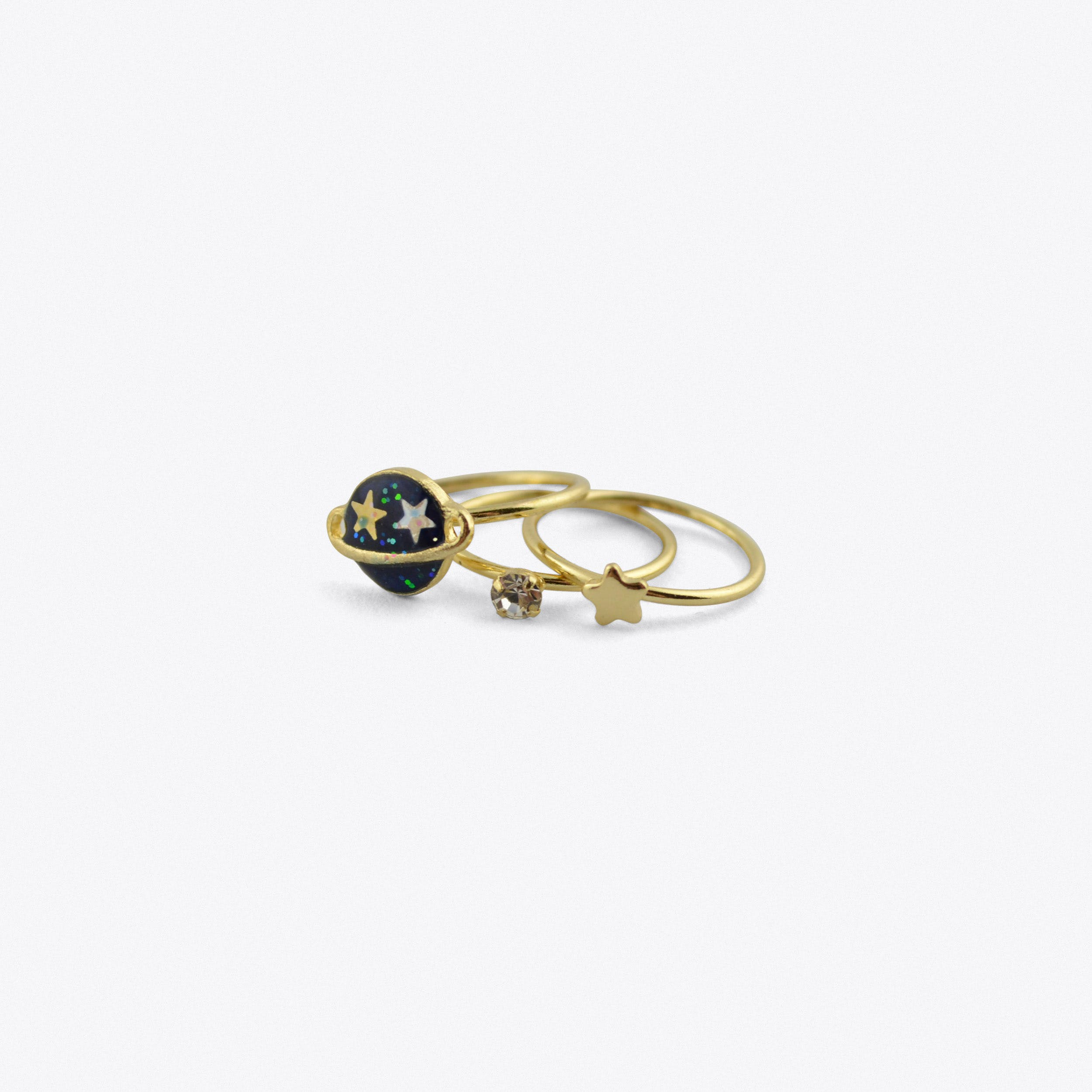 Blue Star And Planet Midi Rings