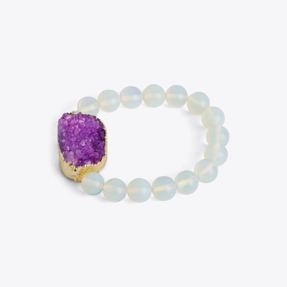 Amethyst Crystal & Moonstone Bracelet