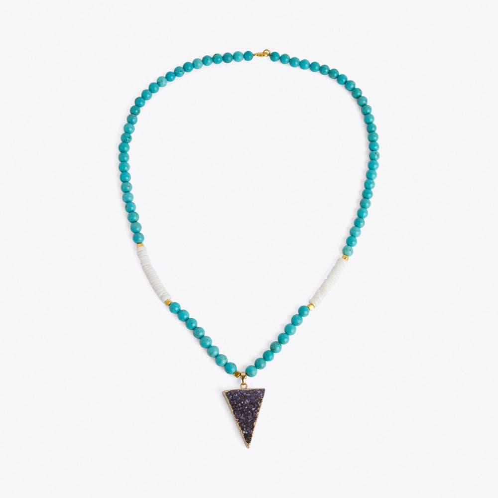 Beaded Purple Amethyst Crystal Necklace