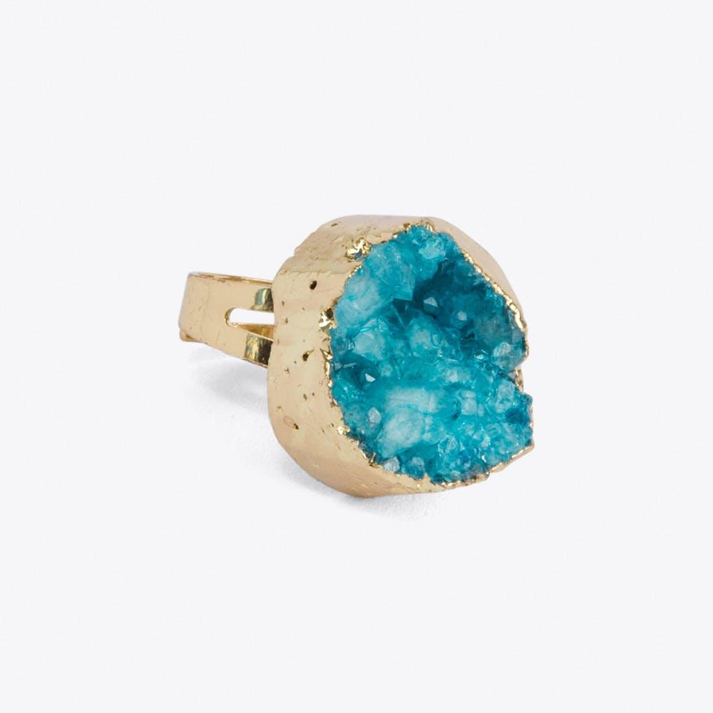 Aqua Blue Crystal Ring