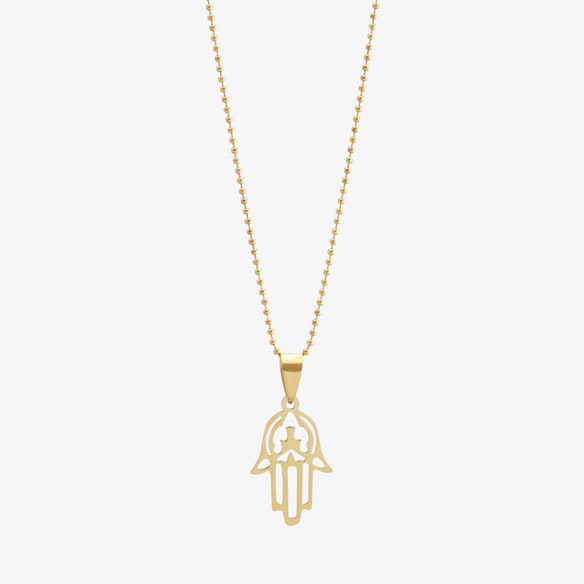 Gold plated mini hamsa hand pendant by helix and felix fy aloadofball Images