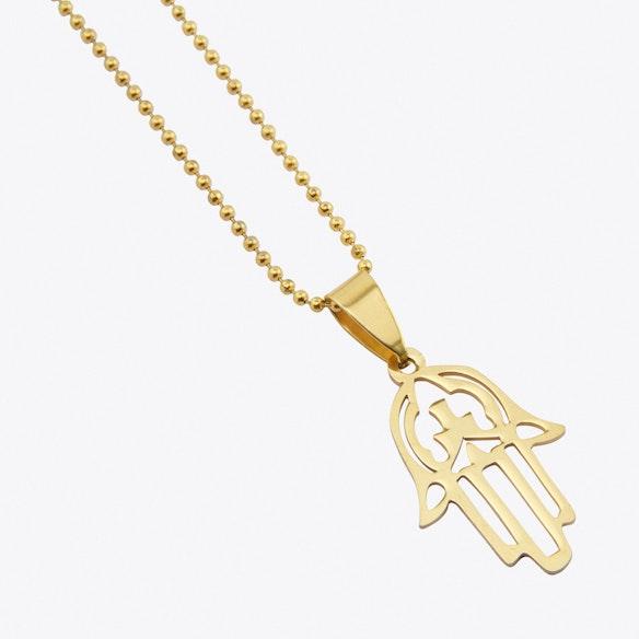 Gold plated mini hamsa hand pendant by helix and felix fy gold plated mini hamsa hand pendant by helix and felix aloadofball Images