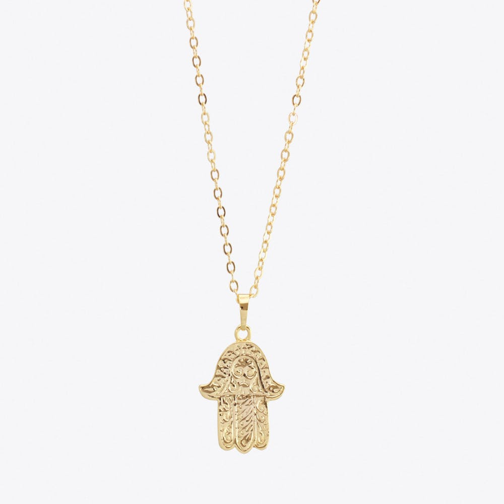 Gold Plated Large Hamsa Hand Pendant