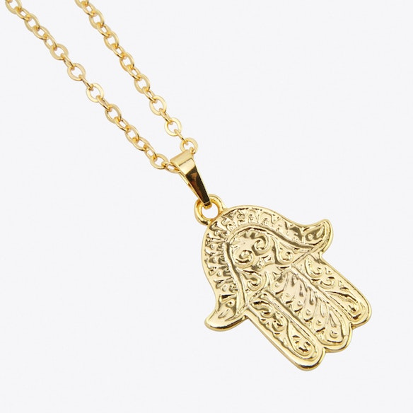 Gold plated large hamsa hand pendant by helix and felix fy gold plated large hamsa hand pendant by helix and felix mozeypictures Image collections