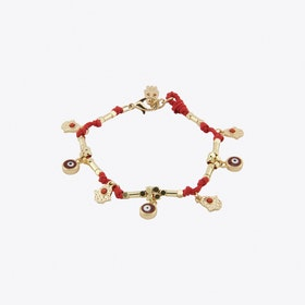 Good and Evil Charm Bracelet in Red