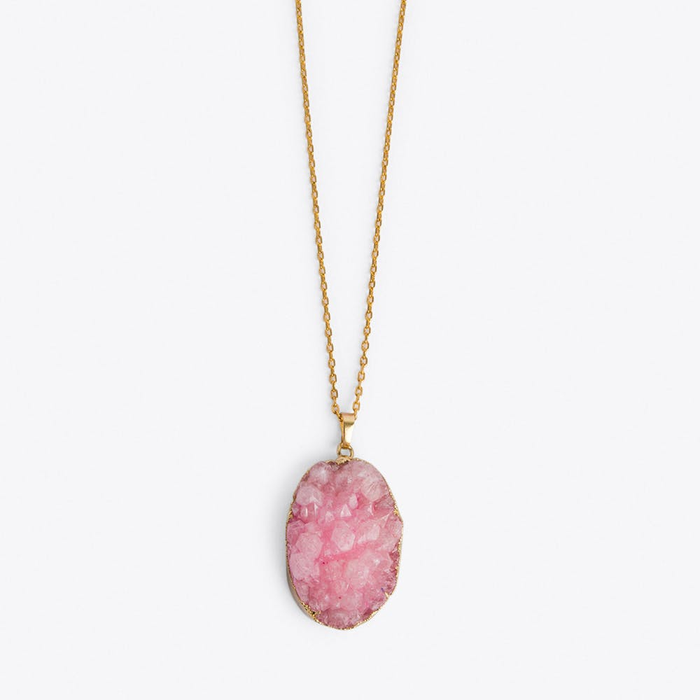 Pink Quartz Healing Crystal Necklace