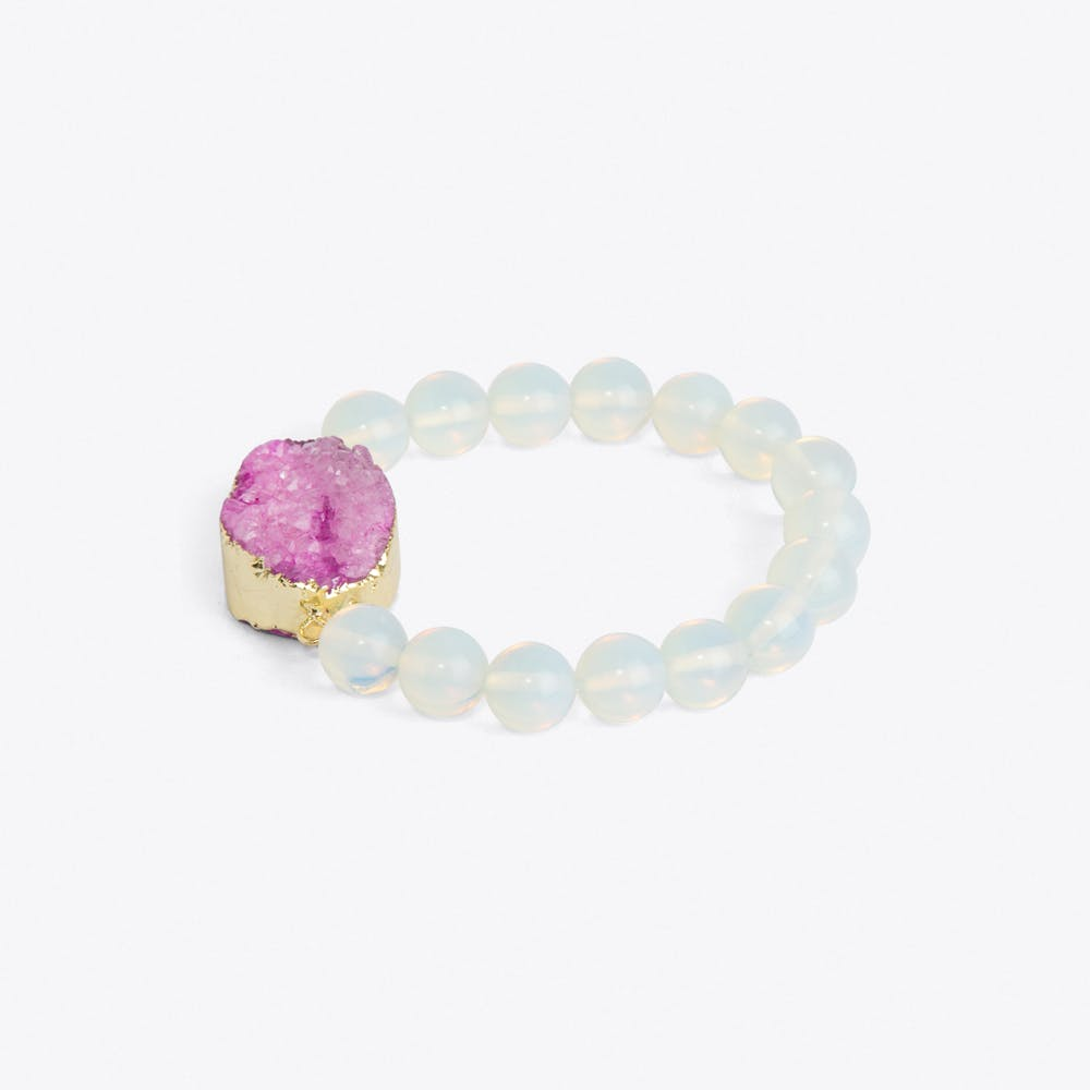 Pink Quartz & Moonstone Bracelet