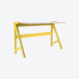 VOLT Desk - Canary Yellow with Snow White Top