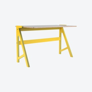 VOLT Desk - Canary Yellow with Dusty Grey Top