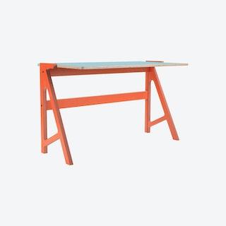 VOLT Desk - Foxy Orange with Butterfly Blue Top