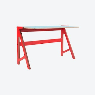 VOLT Desk - Vulcan Red with Butterfly Blue Top
