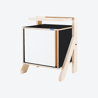 FRAME Night Table - Inky Black with Transparent Orange Screen