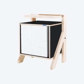 FRAME Night Table - Inky Black with Transparent Grey Screen